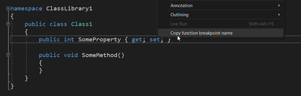 Context menu screenshot