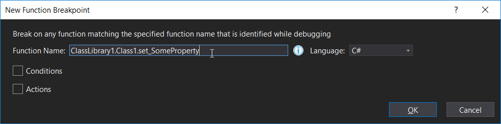 New function breakpoint dialog
