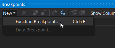 New function breakpoint menu