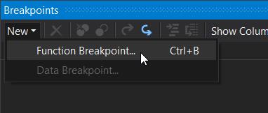 New function breakpoint menu